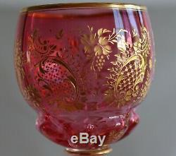Antique Bohemian Moser Cranberry Engraved Gold Gilt Glass Wine Goblet