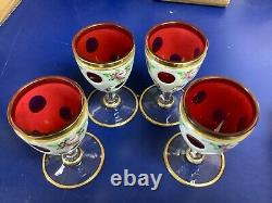 Antique Bohemian Moser Glass Decanter Set, White Overlay Cut To Cranberry Glass