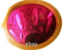 Antique Bohemian Moser White Cut to Cranberry Art Glass Gilt Vase or Lrg Goblet