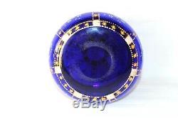 Antique Bohemian Moser cobalt blue enamel decoration trinket box c 1880