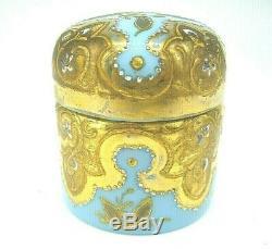 Antique Bohemian Moser opaline glass gold enamel dressing table pot trinket box
