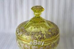 Antique Bohemian Moser uranium cut glass enamel candy box c 1860