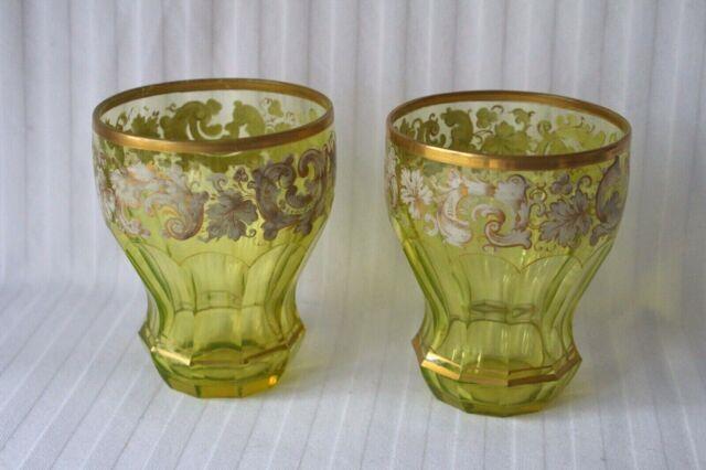 Antique Bohemian Moser Uranium Cut Glass Enamel Pair Of Beakers C 1860