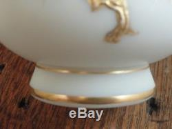 Antique Bohemian Victorian Hand Painted Flying Crane Art Glass Vase Loetz Era