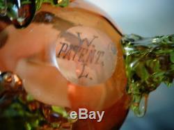 Antique Bohemian Victorian Heckert / Loetz WATER LILY Coralene Art Glass Vase