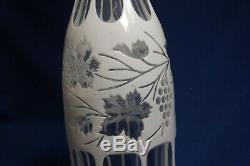 Antique Boston & Sandwich Glass White To Clear Overlay Grapes &Vine 14 Decanter