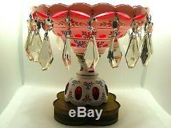 Antique COMPOTE Bohemian Glass Czech White Cut Cranberry Crystal Drops Vintage