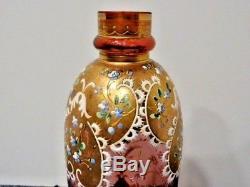 Antique CRANBERRY ART GLASS VASE Gold Gilding Enameled Flowers Moser Victorian