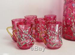 Antique CRANBERRY ENAMEL Lemonade PITCHER CUP MUG Floral VICTORIAN Art Glass SET