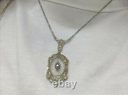 Antique Camphor Glass Art Deco Diamond Solid 14K White Gold Pendant Necklace 16