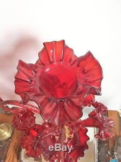 Antique Cranberry Art Glass Victorian-Era Epergne Centerpiece Rigaree Baskets
