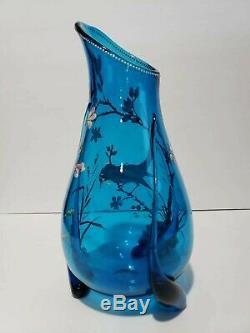 Antique Czech Bohemian Moser Harrach Blue Art Glass Gold rim Enameled bird Vase