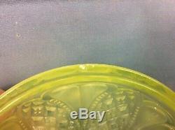 Antique Davidson Yellow Pearline Vaseline Glass Biscuit Barrel, Free Uk Delivery
