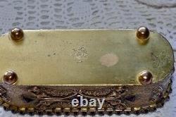 Antique E & J B Empire Art Gold Trio Glass Perfume Bottles Jeweled Brass Holder
