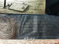 Antique Eglomise Painting Mourning Memento Mori Child Grave Tomb Key Hair Angel