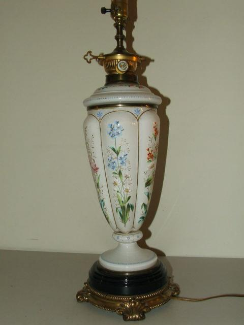 Antique Elegant Victorian Bohemian Art Glass Hand Painted Floral Table Lamp