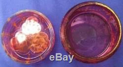Antique Enamel Moser Glass Jar Dresser Box Bohemian