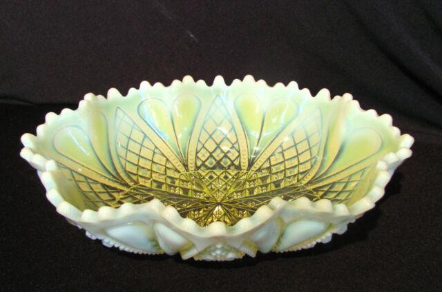 Antique English Vaseline Glass Bowl Circa 1900