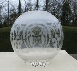 Antique Etched Glass Oil Lamp Globe / Shade, 4 fitter Art Nouveau