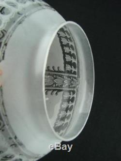 Antique Etched Globe Clear Glass Duplex Oil Lamp Shade Art Nouveau Design