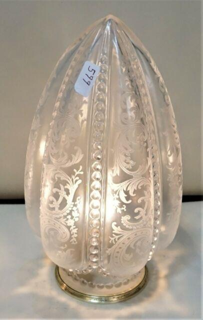 Antique Etched Tear Drop French Glass Lamp Shade Victorian Art Nouveau