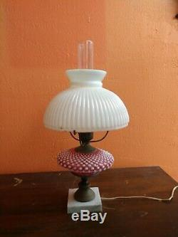 Antique Fenton Art Glass White Pink Hobnail Victorian Table Lamp