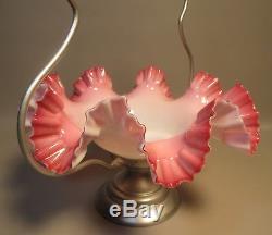 Antique Fenton Brides Wedding Basket Pink to White Opalescent Ruffled Glass