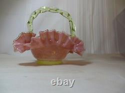 Antique Fenton Pink And Uranium Glass Bride's Basket