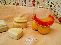 Antique Franz Welz Yellow Swirl Art Glass Basket polished PontilBohemian