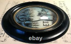 Antique French Mourning Hair Art Domed Glass Oval Wooden Frame Tree Flower c1860