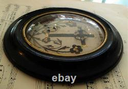 Antique French Mourning Hair Art Domed Glass Oval Wooden Frame c. 1880