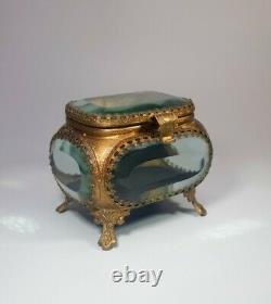 Antique French Ormolu Beveled Glass Trinket Jewelry Casket Filigree Victorian