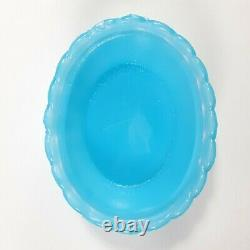 Antique French Portieux Vallerysthal Blue Opaline Milk Glass Covered Dish