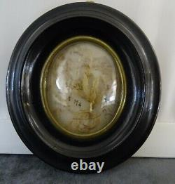 Antique French Victorian Mourning Hair Art Convex Glass Frame Reliquary