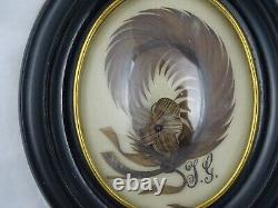 Antique French Victorian Mourning Hair Art Convex Glass Frame Reliquary 1874