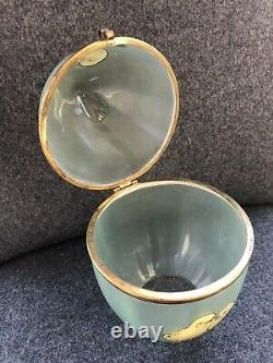 Antique German Victorian Art Glass Green Frosted W CHICKS Enamel EGG BOX Hinged