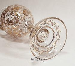 Antique Gold Gilt Enameled Bohemian Moser Art Glass Handled Footed Amphora Vase