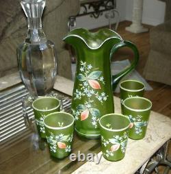 Antique Green Satin Enamel Floral Six Piece Lemonade Set