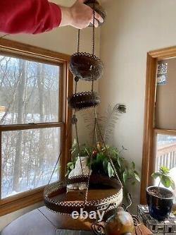 Antique Hanging Chandelier Oil Lamp Light Fixture Art Glass Shade Pull Chains