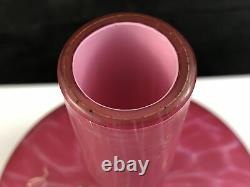 Antique Harrach Bohemian Cranberry Opalescent Enamel Cased Glass Vase -Signed
