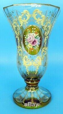 Antique Heavily Enameled Moser Amber Art Glass Vase 9.25tall With Flower Panels