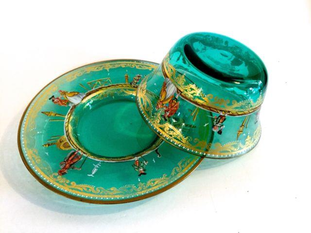 Antique Italian Green Glass Set, Bowl & Under-plate Hand Painted Enamel & Gold