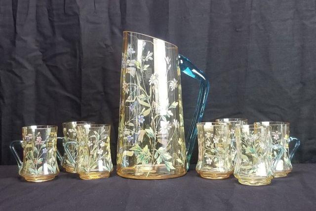 Antique Moser Bohemian Glass Enamel Pitcher Cup Mug 8 Pc Set