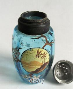 Antique MT WASHINGTON BLUE 4 BARREL RIBBED ENAMEL PAINTED Art Glass SALT SHAKER