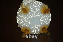 Antique MT. Washington Glass Satin Peach Blow CORALENE SEAWEED Footed Vase 8