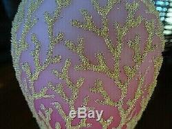 Antique MT. Washington Glass Satin Peach Blow CORALENE SEAWEED Vase Cased