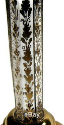 Antique Moser Art Glass Amethyst Overlay Cabochon Jeweled Wine Stem Petal Foot