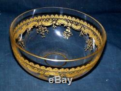 Antique Moser Art Glass Gold Gilt Etched Dessert Finger Bowl Set of SIX