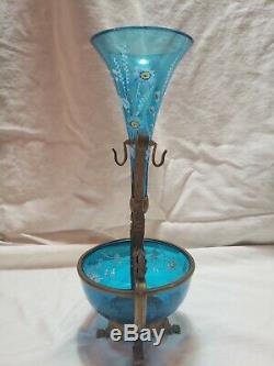 Antique Moser Blue Art Glass Enameled Victorian Epergne Vase