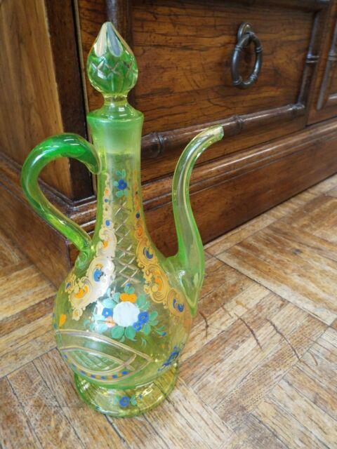 Antique Moser Bohemian Vaseline Art Glass With Enamel & Gold Bottle Or Decanter